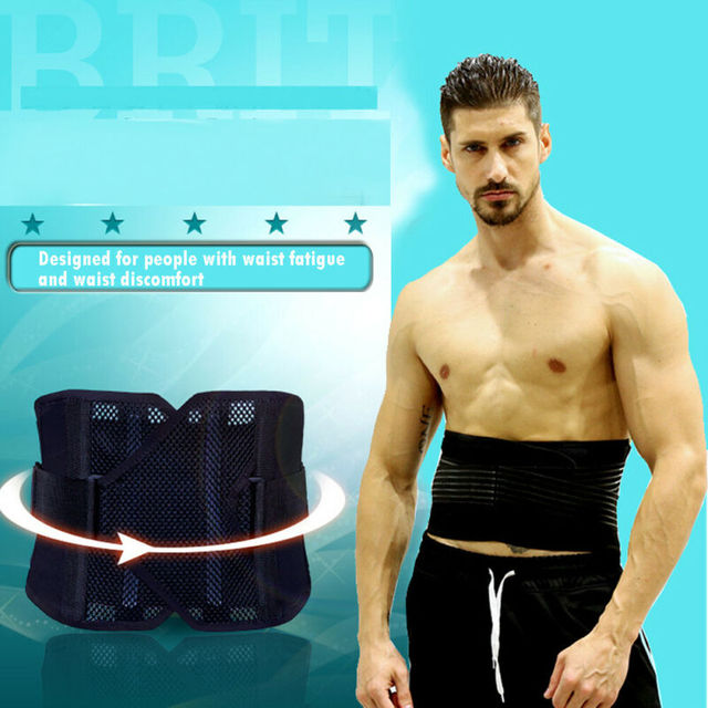 Men Support Waist Belt Sweat Waist Trainer Trimmer Belt Body Shaper Wrap Weight Loss Belt Black 3