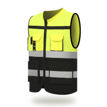 High Visibility Reflective Vest Security Clothes for Work Wear Multi-Pocket Safety Vest Unisex Fluorescent Clothing with Zipper