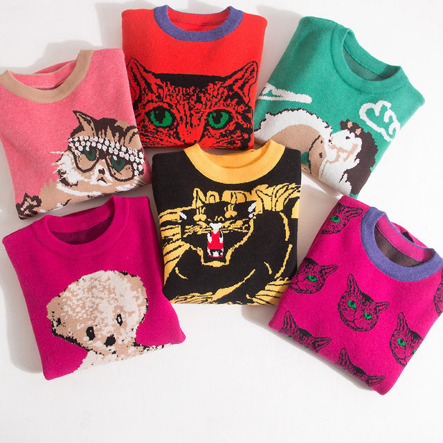 High Quality Runway Designer Cat Print Knitted Sweaters Pullovers Women Autumn Winter Long Sleeve Harajuku Sweet Jumper C-192 5