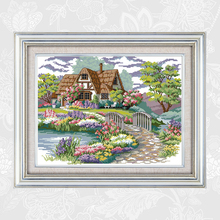 Joy Sunday Dream House Paintings Counted Printed on Canvas14CT 11CT Chinese Cross Stitch Needlework Sets Embroidery kits