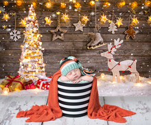 NeoBack Gifts Toy Christmas Backdrop Decor Tree wooden Photography Backdrops Shiny Star Snowman Kids Photo Background