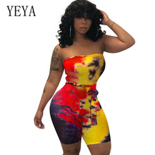 YEYA New Fashion Tie-dyed Wrapped Chest Women Jumpsuit Sexy Off Shoulder Sleeveless Hollow Out Vintage Bodycon Bandage Playsuits