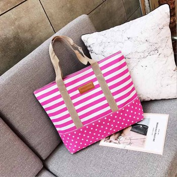 Free Shopping Handbag High Quality Women Girls Canvas Large Striped Summer Shoulder Tote Beach Bag Colored Stripes 3