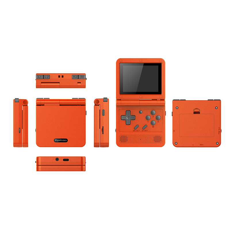 POWKIDDY v90 3-inch IPS screen Flip Handheld console dual open system game console 16 simulators retro PS1 kids gift 3D new game 4