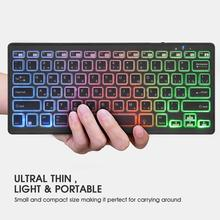 Rii clavier rétroéclairé à LED sans fil Bluetooth 4.0, couleur arc en ciel, avec batterie Rechargeable, pour iOS, Android et MacBook