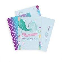 Tarjetas de invitación de fiesta de sirena con sobres para niña, suministros de fiesta de cumpleaños, regalo para Baby Shower, 8 Uds.