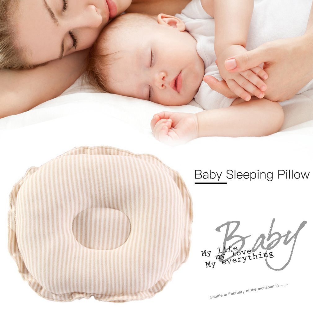 Light Coffee Embroidery Baby Head Shaping Pillow Baby Pillow to Prevent Flat Head Supports Newborn Head Shape Baby Protective Pillow