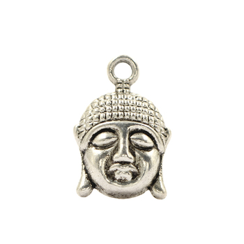 Tibetan Silver Metal Buddha Head Shape Pendant Face Of Cixi Charms Jewelry Accessories For Making DIY Necklace Earring 12pcs image