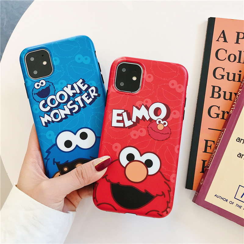 Remazy Cute Cartoon Sesame Street Cookie Elmo Couple Case  For iPhone 7 11 Pro XS MAX XR X 8 6 6s Plus Soft IMD Phone Cover Capa