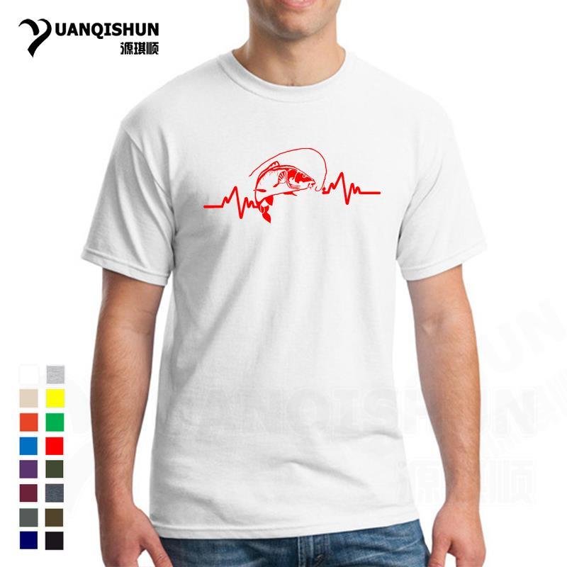 Популярная летняя одежда, 16 цветов, Хлопковая мужская футболка, высокое качество, сердцебиение карпа, рыбака, рыбака, приманки, футболка, Ули...
