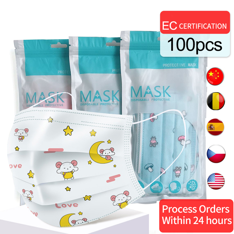 100/50/10PCS Anti-fog Haze Dust Breathable Children's Masks Mouth Nonwovens Disposable Cartton Print Pattern Mouth Masks