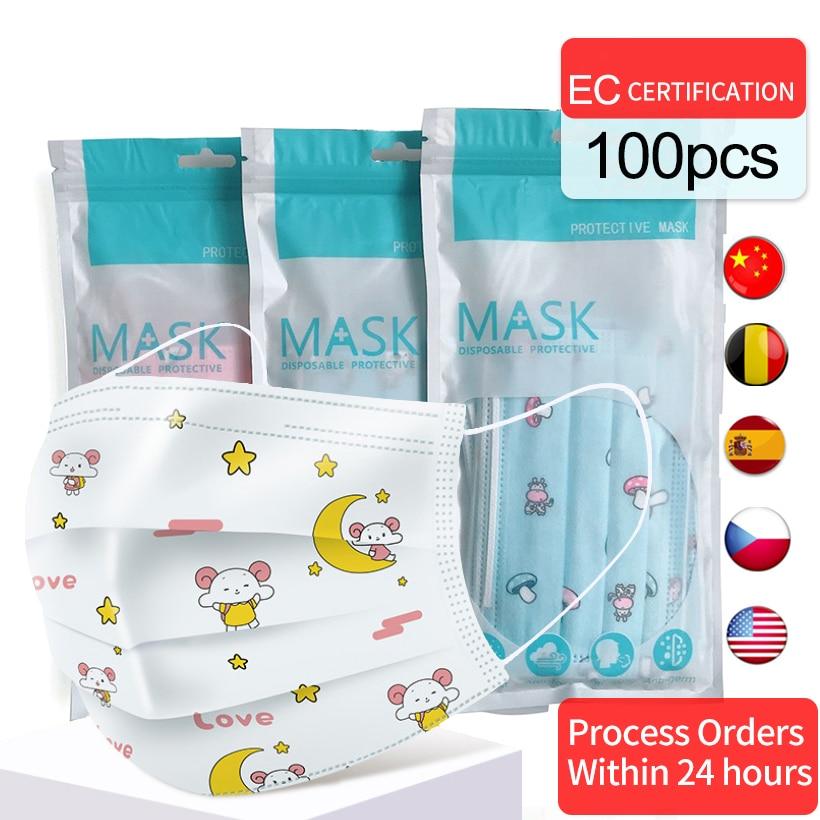 100/50/10PCS Anti-fog Haze Dust Breathable Children's Masks Mouth Nonwovens Disposable Cartton Print Pattern Mouth Masks