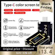 """FNC88 סוג C פ""""ד הדק USB C מד מתח מד זרם מתח 2 דרך הנוכחי מטר מודד פ""""ד מטען סוללה USB Tester"""