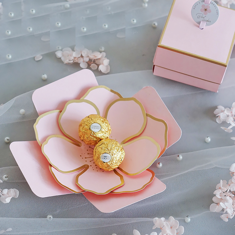 50pcs Custom Elegant Unique Paper Chocolate Candy Box Favors Gifts Boxes For Wedding Baby Bridal Shower Party Package Wholesale