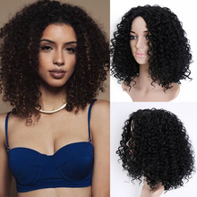 "BUQI 20 ""glueless hair Brazilian hair short Curly Hair African American Hair Wig Hairstyle Synthetic Hair Wigs For Black Woman(China)"