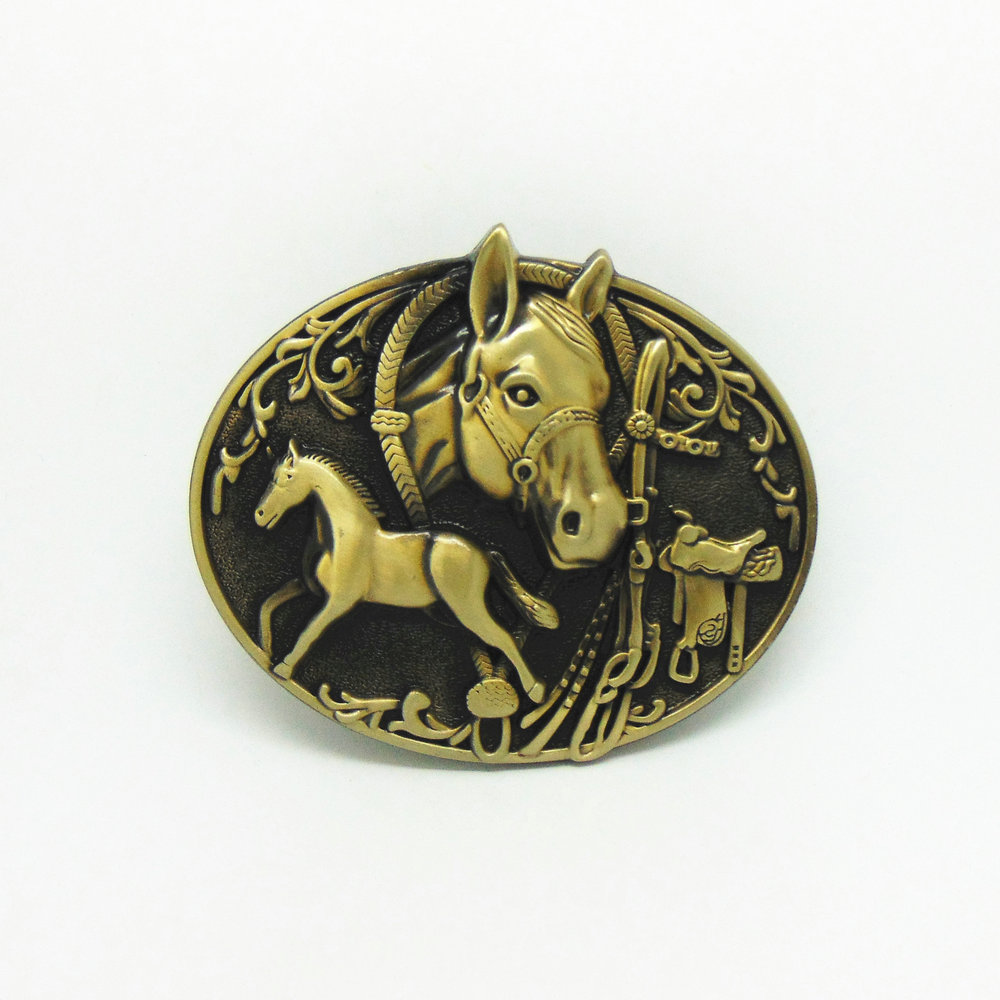 Western Cowboy Belt Buckle Animal Horse Head Zinc Alloy Belt Buckle Suitable For 4.0 Belts