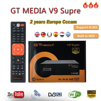 1080P Full HD GT media V9 Super Europe Cline for 2 Years Satellite TV Receiver H.265 WIFI Same DVB-S2 GTmedia V8 NOVA Receptor