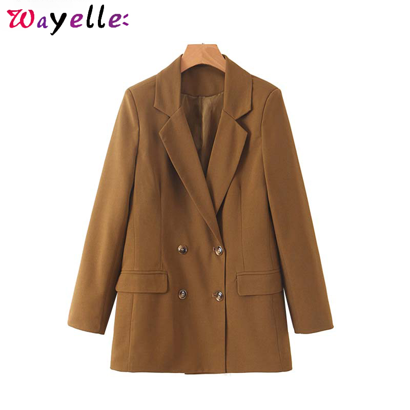 Chic Winter Women Blazers Stylish Double Breasted Pockets SuitsOffice Lady Long Sleeve Office Wear Coats Female Solid  Outerwear