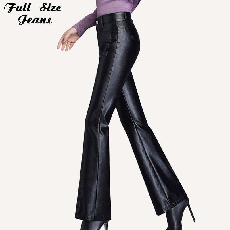 Plus Size Pockets Stretch Pu Leather Flare Pants 3Xl 4Xl Winter  Women Office Ladies Workwear Bell Bottom Pu Long Trousers MujerPants