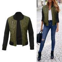 New Arrival Classic Jackets Zipper Women Female Zipper Solid Color Front Pocket Warm Casual Cotton Autumn Coat