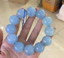 ใบรับรองธรรมชาติสีฟ้า Aquamarine ลูกปัดคริสตัลขนาดใหญ่สร้อยข้อมือหินผู้หญิงผู้ชาย 20 มม.PARTY ของขวัญยืดเครื่องประดับ AAAAA
