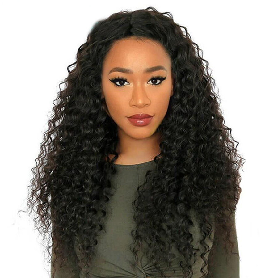 Long 13x6 Lace Front Human Hair Wigs Kinky Curly Mongolian Remy Hair Pre Plucked Lace Frontal Wig with Baby Hair Natural Color