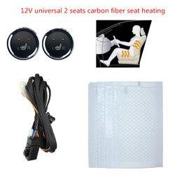 2 Kursi 4 Bantalan Universal Serat Karbon Dipanaskan Kursi Pemanas 12V Tikar 2 Dial Logam Bulat Dipanaskan Switch untuk chevrolet Aveo Kit