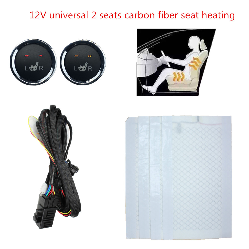 2 Seats 4 Pads Universal Carbon Fiber Heated Seat Heater 12V Mats 2 Dial Metal Round Heated Switch For Chevrolet Aveo Kit
