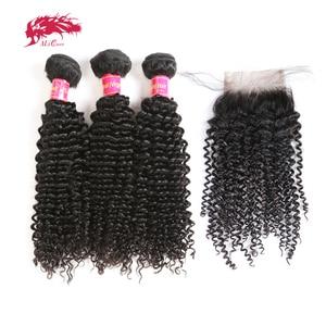Ali Queen Hair 3/4 шт. бразильские кудрявые вьющиеся волосы с застежкой на шнуровке/фронтальные свободные части натуральные человеческие волосы пу...