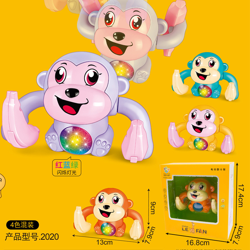 2020 Douyin Celebrity Style Electric Roll Monkey Voice Sensing Tilting Monkey Light Included Light Music Stall Toy