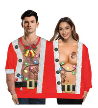 цена на Two Person Letter Print Xmas Couples Pullover Novelty Christmas Blouse Top Shirt Top Shirt Pullover Male Xmas Femme Ugly