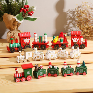 Wooden Christmas Train 2020 Christmas Decorations For Home Xmas Navidad Kids Gift Christmas Ornament New Year 2021 Decor 1pc
