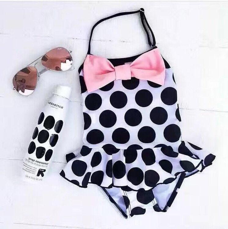 Kid Baby Girl Swimwear Bow Dots Swimsuit One Piece  Bikini Costume Swimsuit Swimwear Girls Beachwear Bathing