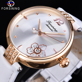 Forsining Diamond Flower White Automatic Watch Waterproof Genuine Leather Band Luminous Hand Date Clock Women Mechanical Watch leisure automatic mechanical genuine leather waterproof watch with rome digital business for various occasions m172s brown