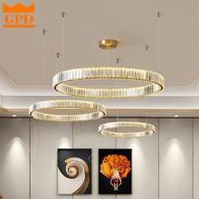 Gpd led lustre quarto luz para casa lustres de cristal ouro sala estar jantar anel duplo iluminação lustre lâmpada