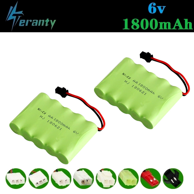 ( M Model ) 6v 1800mah NiMH Battery For Rc toys Cars Tanks Robots Boats Truck Guns 6v Rechargeable Battery AA Battery Pack 2Pcs image