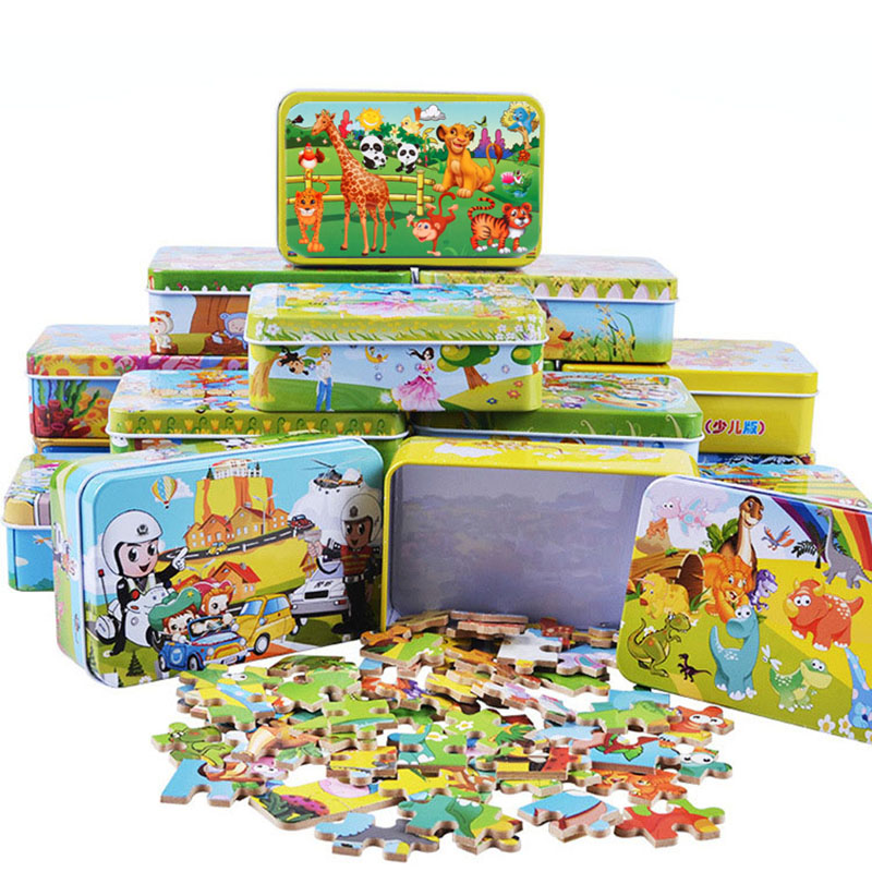 DIY Creative 60 Pieces Wooden Puzzle Cartoon Animal Jigsaw Iron Box Early Educational Learning Toys Gifts For Children Kids Baby