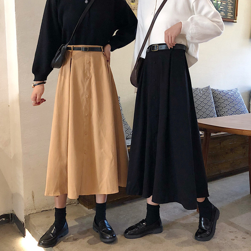<font><b>Bib</b></font> <font><b>Skirt</b></font> Autumn 2019 New Style <font><b>Skirt</b></font> Autumn And Winter Mid-length A- line <font><b>Skirt</b></font> <font><b>Skirt</b></font> Women's <font><b>Skirt</b></font> High-waisted Pleated <font><b>Skirt</b></font> image