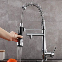Multifunctional Spring Pull Down Swivel Dual Spout Kitchen Sink Faucet Bathroom Hot /Cold water Mixer Kitchen Sink Tap uythner gold polish swivel spout kitchen sink faucet pull down sprayer fashion design bathroom kitchen hot