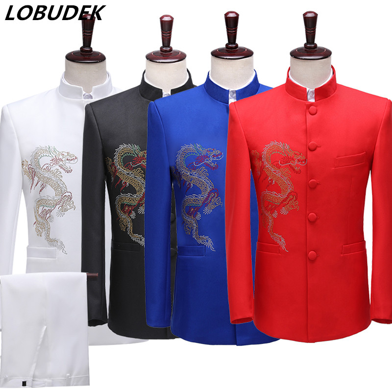 Men's Stand Collar Suits Rhinestones Chinese Tunic Suit Chorus Costume Chinese Host Style Stage Performance Clothes 2-Piece Set