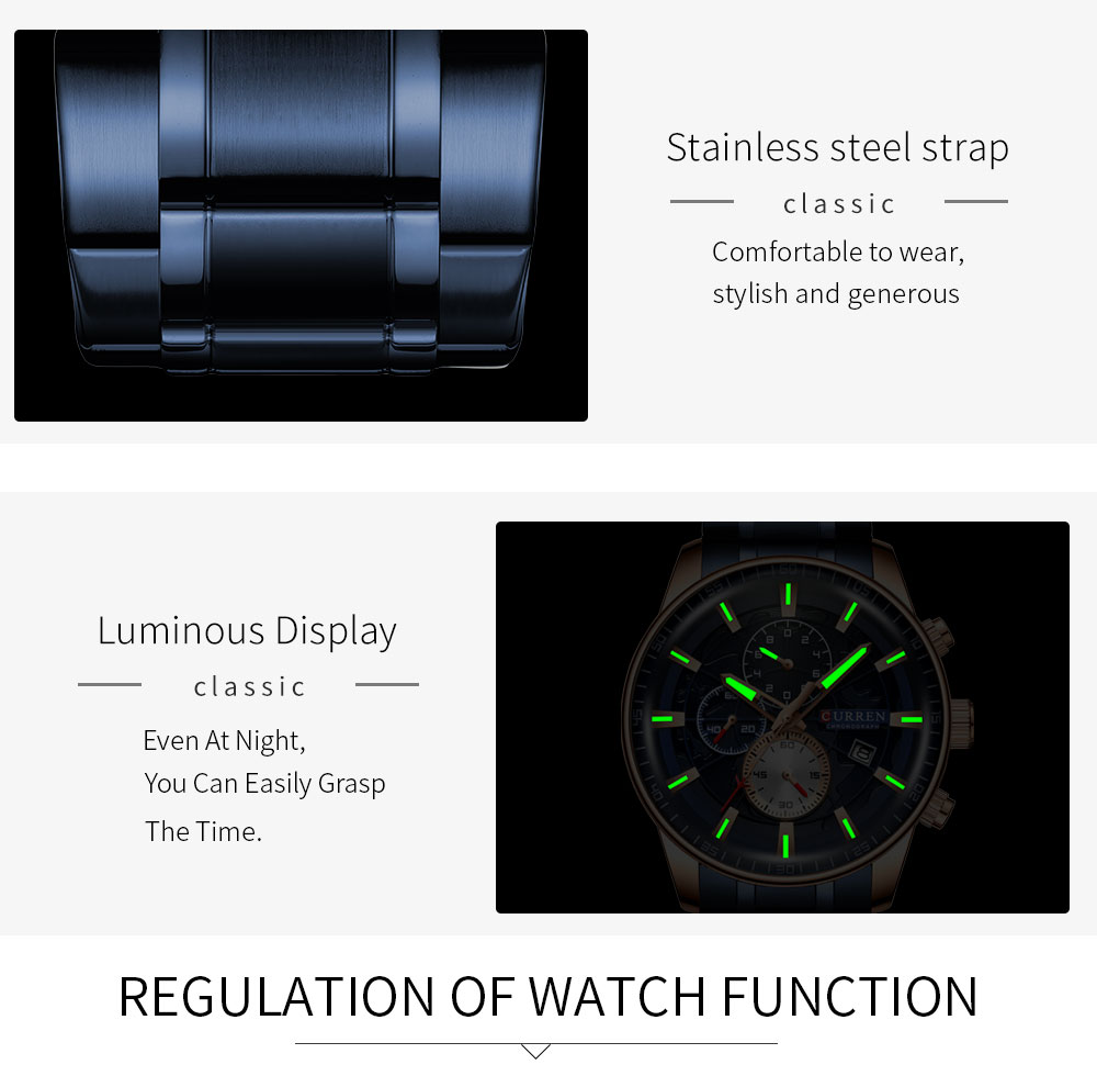 H7264b19cf67f488fa4d73fb8410f7b7dX Men's Watches CURREN Top Luxury Brand Fashion Quartz Men Watch Waterproof Chronograph Business Wristwatch Relogio Masculino