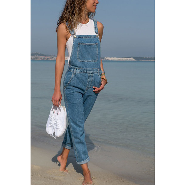 Spring 2020 Denim Overalls Women Plus Size S-5XL Solid Rompers Women Jumpsuit Pockets No Stretchy Jeans Female Ropa Mujer D01701
