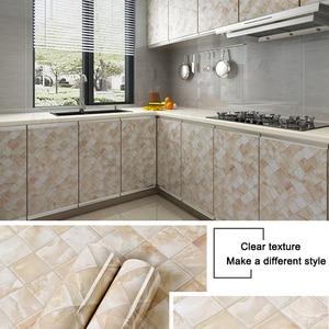 Image 5 - 3D mermer vinil Film kendinden yapışkanlı su geçirmez banyo için duvar kağıdı mutfak dolabı tezgahı yapışkan kağıt PVC duvar Sticker