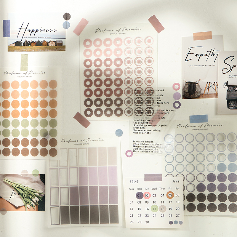Mohamm 3 Blätter Natürliche Farbe Serie Dekorative Aufkleber Scrapbooking DIY Hinweis Papier Aufkleber Flakes Stationäre Büro Zubehör
