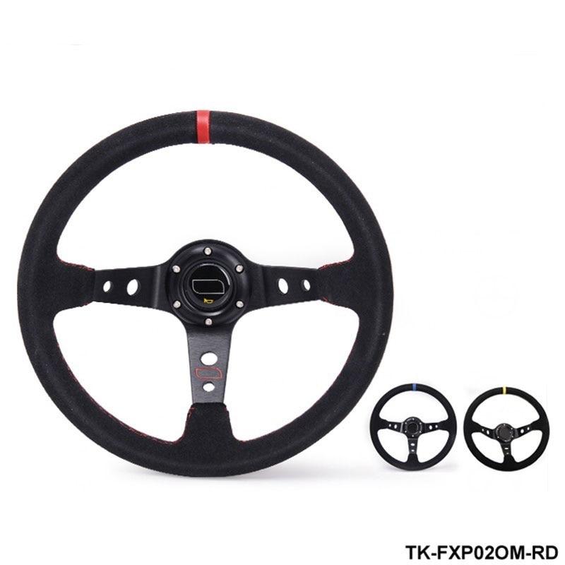 Volante modificado de cuero de gamuza volante de carrera de automóvil volante TK-FXP02OM