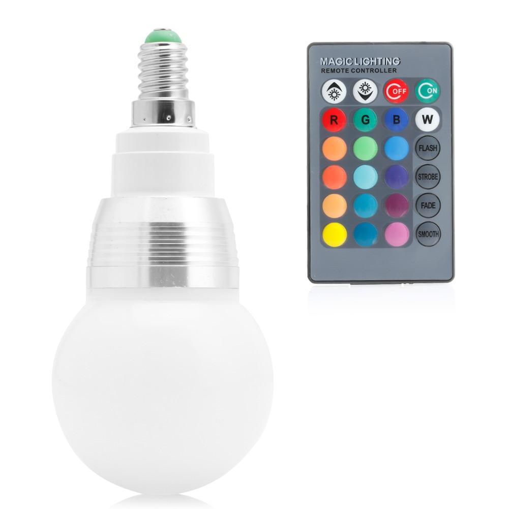 E14 10W 85-265V RGB LED Light Color Changing Lamp Bulb + Remote Control E65B