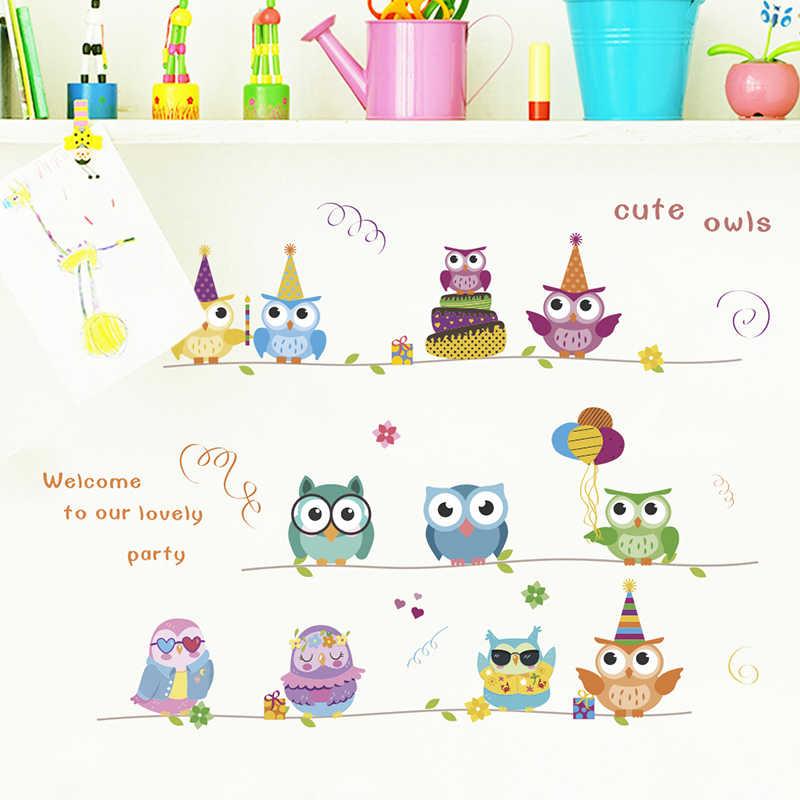 Mignon hiboux arbre branche Stickers muraux pour enfants chambres enfants chambre décorations Stickers muraux PVC Art maison fête bricolage Mural décor