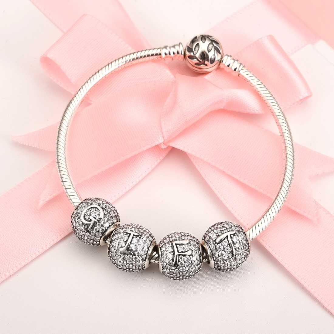 Jiayiqi a z carta zircão contas encantos 925 contas de prata esterlina caber 925 prata esterlina pulseiras das mulheres prata 925 jóias
