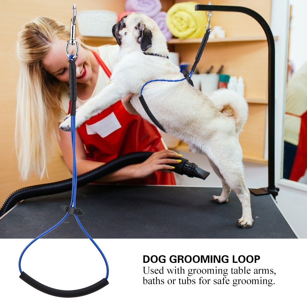 Adjustable Double Noose Ropes For <font><b>Dog</b></font> Cat Grooming Rope Loop Pet Grooming <font><b>Table</b></font> Arm Bath Tub Pet Sling Rope <font><b>Dogs</b></font> Pets Supllies image