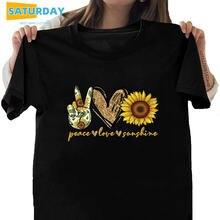 Женская хлопковая футболка с надписью «peace love sunshine»